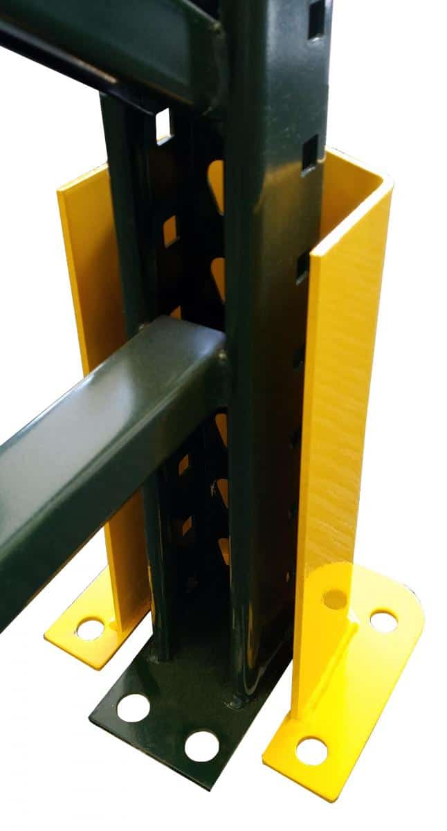 Steel warehouse racking post protector rear view