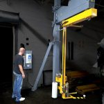 A highlighted photo of a warehouse operating using a Model 2200 rotating shrink wrap machine.
