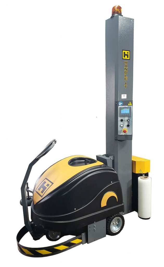 Side view of the Model 3000 robotic stretch wrap machine
