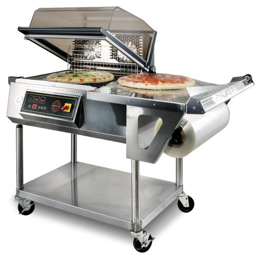 Shrink wrap machine used on pizzas