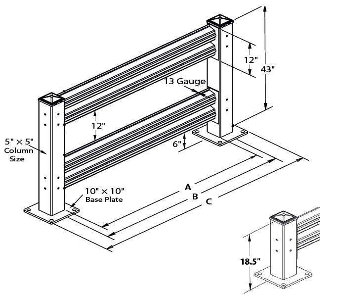Handle-It warehouse guard rail drawing showing dimensions